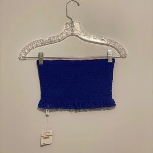 NWT FREE PEOPLE • blue ribbed tube top •